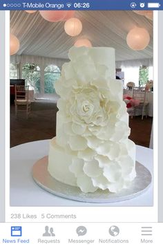 Pictures of Wedding Cakes - Wedding Cake Designs Wedding Planning, Ideas & Etiquette Bridal Guide Magazine by lovely i like Creative Wedding Cakes, White Wedding Cakes, Beautiful Wedding Cakes, Wedding Cake Designs, Beautiful Cakes, White Cakes, White Weddings, Our Wedding, Dream Wedding