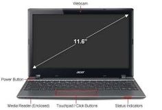 New Acer C7 C710-2847 Chromebook 11.6 Great for entertainment Games and videos come alive with its 11.6 high definition display. Simple to use and stays up-to-date automatically. It boots-up in less than 20 seconds, never slows down, and requires almost zero setup or maintenance.