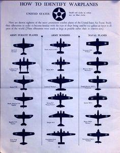 1942 WWII Warplane Identification Chart, US Air Force Силуэты самолетов для распознавания, где враг, а где друг.