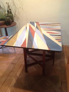 GPlan teak yacht table, seats 6 and folds down to 8 inches across!  Sold
