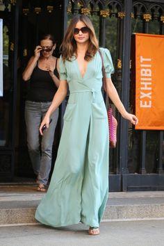 Miranda Kerr vestido verde menta