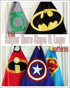 5 FREE Super Hero Cape Logo Patterns for capes, decor, party paraphernalia and more! (AND a link to the free cape pattern. Sewing Crafts, Sewing Projects, Craft Projects, Sewing For Kids, Diy For Kids, Superhero Cape Pattern, Kids Cape Pattern, Free Pattern, Kids Crafts