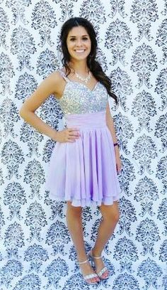Short light purple jeweled formal dress for homecoming prom or pageants! Fits size 0-2