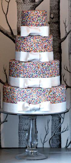 outrageous confetti wedding cake  Forever Amour Bridal (212) 486- 2900 www.ForeverAmourBridal.com New York, New York 10022