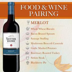 Sutter Home Wine & Food Pairing Series: #Thanksgiving - Sutter Home #Merlot is a Thanksgiving favorite.