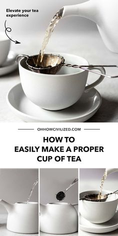 Tea is pretty straightforward. Tea-making is also simple. But did you know there's a proper way to make a cup of tea? Lots of people may not be aware, but tea etiquette is an important aspect of enjoying tea. Here's how to do it - click to continue. Hot Tea Recipes, Drink Recipes, Afternoon Tea Table Setting, Tea Table Settings, Tea Etiquette, Perfect Cup Of Tea, Tea Sandwiches, Brewing Tea, Best Tea