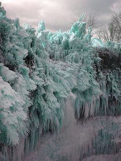 Ice Storm! Ontika Falls, near the city of Toila, Estonia. Rime ice covered forest
