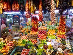 Barcelona's markets are pure sensory overload. This is La Boqueria, the famous one on the Ramblas