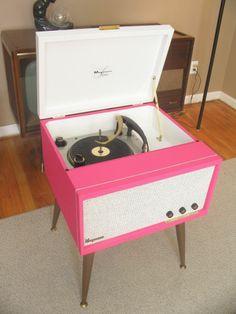 Vtg 50s 60s Mid Century Danish Modern Magnavox HiFi Pink Record Player Tube Amp
