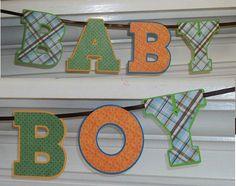 Baby Boy Banner Letter Banner  Orange Blue by APaperPlayground, $10.00