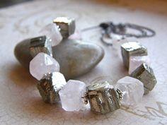 Rough Cut Rose Quartz and Pyrite Cube by RachelUngerJewelry, $52.00