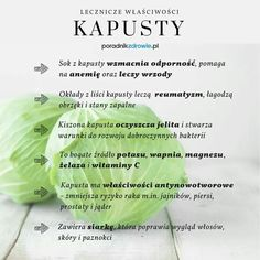 Kapusta zalety. Healthy Tips, Healthy Recipes, Slow Food, Nutrition Tips, Food Design, Superfoods, New Recipes, Health And Beauty, Cabbage