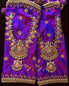 Jeweled Blouse Designs Jeweled Blouse designs for Sarees Jeweled Blouses are trendy nowadays with a lot of creativity hitting this year. I have already posted different var… Wedding Saree Blouse Designs, Saree Blouse Neck Designs, Fancy Blouse Designs, Wedding Blouses, Pattern Blouses For Sarees, Hand Work Blouse Design, Stylish Blouse Design, Aari Work Blouse, Maggam Work Designs