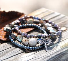 Trio of Shell Pearl Seed Beaded Bracelets