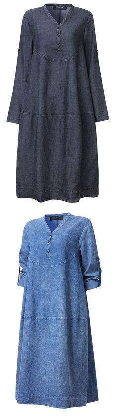 $26.47 Plus Size Women Loose Solid Long Sleeve Denim Dress