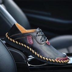 f274ed3c1bc3 Men s Stitching Soft Sole Breathable Casual Lace Up Driving Loafers Slipper  Sandals
