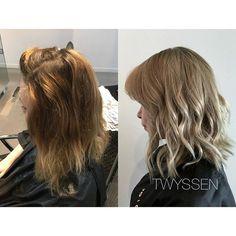 Amazing colour correction  #hairbykalli #hairstylist #hair #hairjoi #hairlove #hairnerd #hairbrained #vancouver #vancouverhair #vancouverhairstylist #yvr #onthefringe #otf #otfmain #mainstreethairstylist #mainstreet #colourcorrection #blonde #blondehair #blondebombshell #blondeshavemorefun #beforeandafter #ashblonde #lovemyjob #passion