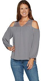 As Is Hot in Hollywood Lace Cold Shoulder Blouse