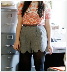 i love winter shorts and scalloped edges... maybe find a thrifted pair of wool pants and do some diy magic?