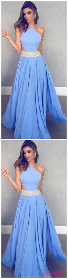 Sleeveless Sheer Back Sexy Formal Dresses Cheap 2018 Blue Crystals Beads Belt Evening Gowns PD20189224