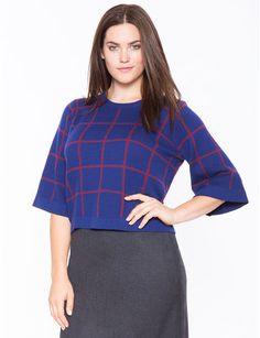 c6d2525d93954 Plus Size Flared Sleeve Windowpane Sweater Plus Size Sweaters