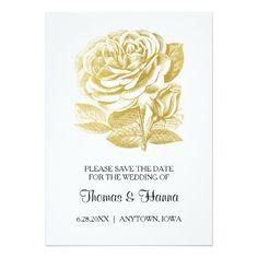 Vintage Rose Sketch Gold Wedding