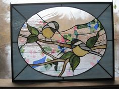 Stained Glass Chicadee Hanging Panel. $185.00, via Etsy.