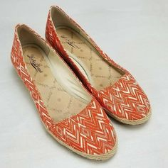 Lucky Brand Canvas Shoes Orange White Chevron Canvas Low Wedge Padded Sz 10  M  LuckyBrand 99d49773b