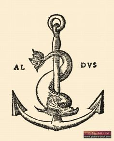 Press mark of the Aldine Press, the great 15th century Venetian printing house of AldusManutius.