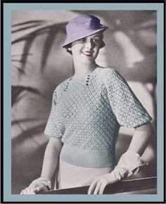 Vintage Crochet Pattern 1930's Rhumba Sleeve Blouse PDF Digital Copy Size 16 -INSTANT DOWNLOAD-. $4.00, via Etsy.