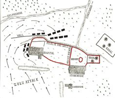 Map of the Battle of Rorke's Drift on January 1879 in the Zulu War: map by John Fawkes Royal Horse Artillery, British Armed Forces, Books For Boys, British Colonial, Zulu, African History, British Army, British History, Old Movies