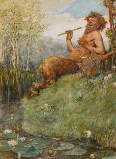 The Great God Pan by Canadian-born illustrator Norman Price Mythological Creatures, Fantasy Creatures, Loki, Thor, Viking Berserker, Symbole Viking, Greek Mythology, Pan Mythology, Greek Gods