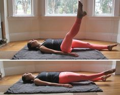 Extend your toes back up toward the ceiling and continue the circle motion for a minute or 30 to 40 times before reversing. Stretch your leg, lower, and repeat on the other side.