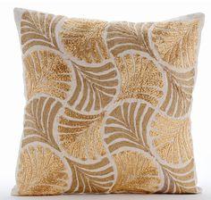 Decorative Throw Pillow Covers Accent Pillow Couch Natural Linen Pillow Cover Jute & Zardosi Embroidered - Gold Ginko Leaves Decorative Throw Pillow Covers Accent Pillow by TheHomeCentric. Linen Pillows, Cushions On Sofa, Decorative Throw Pillows, Gold Pillows, Linen Fabric, Bild Gold, Euro Pillow Covers, Euro Shams, Pillows