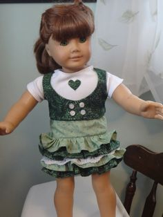 three piece green ruffled skirt with matching vest/ white knit shirt- sold