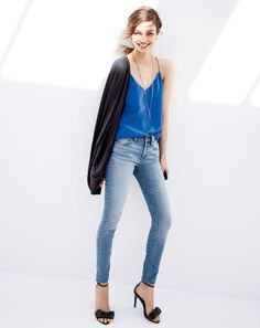 APR '15 Style Guide: J.Crew women's Collection pocket cardigan featherweight cashmere, Carrie cami top in blue grotto, selvedge jeans in alton wash toothpick, and pavé droplet necklace.