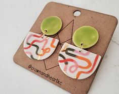 Modern Porcelain Jewelry Colorful Statement by CrownAndHeartKC Boho Earrings, Statement Earrings, Heart Jewelry, Unique Jewelry, Earring Cards, Porcelain Jewelry, Diy Festival, Dangles, Etsy Seller