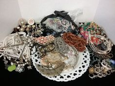 Large 5 pound lot of jewelry, beads, rings & more for crafts, projects or repair