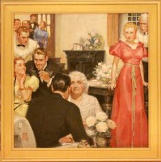 'Party Scene' by Ralph Palen Colemen 1892-1968 : Original Oil on Canvas