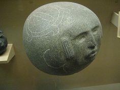 Mezcala Style Face on a Spherical Stone