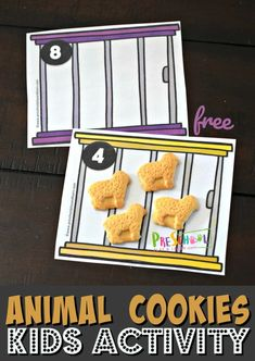 This FREE animal cookies math activity for preschoolers is such a fun way for kids to practice counting Zoo Activities Preschool, Counting Activities, Free Preschool, Zoo Crafts, Dear Zoo, Zoo Animals, Wild Animals, Tiger Cubs, Tiger Tiger