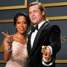 Please Enjoy These Extremely Heartwarming Photos of Brad Pitt and Regina King at the Oscars Hollywood Cinema, Hollywood Star, Hollywood Fashion, Black Celebrities, Celebs, Brad Pitt Pictures, Regina King, Lab, Oscar Gowns