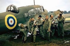 Members of the RAF aircrew, prepare to embark on another training mission aboard an Avro Anson Ww2 Aircraft, Military Aircraft, Ww2 Pictures, Stock Pictures, Ww2 Planes, Battle Of Britain, Nose Art, Royal Air Force, Royal Navy