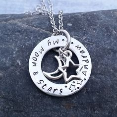 Hand Stamped Small Eternity Loop with My Moon and Stars Charms by SewTree www.sewtree.com www.facebook.com/sewtreeproducts