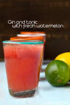Gin and tonic with fresh watermelon | Cook the Story - This Watermelon Gin and Tonic is a summery riff on the classic G&T - the perfect drink to sip while lounging on a lawn chair!