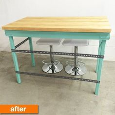 Before & After: A New Bold Butcher Block Island   Apartment Therapy