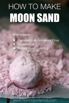 How To Make Moon Sand With Three Ingredients moon-sand-recipe Cornstarch or Arrowroot flour Coconut oil Natural food colouring Want excellent helpful hints concerning arts and crafts? Fun Crafts For Kids, Projects For Kids, Diy For Kids, Craft Projects, Sand Projects, Creative Crafts, Children Crafts, Craft Kids, Infant Activities
