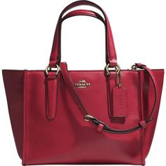 Coach Mini Crosby Carryall ($360) ❤ liked on Polyvore featuring bags, handbags, shoulder bags, red, red purse, mini handbags, red shoulder bag, zipper purse and coach purses
