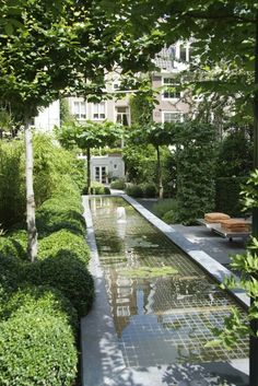 fabulous design for a long narrow garden - contemporary rill water feature with soft shading greenery