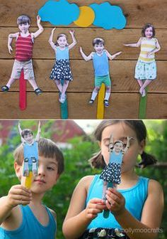 Moveable Craft Stick Puppets – of your kids!! Photograph the kids in a variety of outfits, hairstyles and of course expressions for endless story options – crafting at it's funniest!